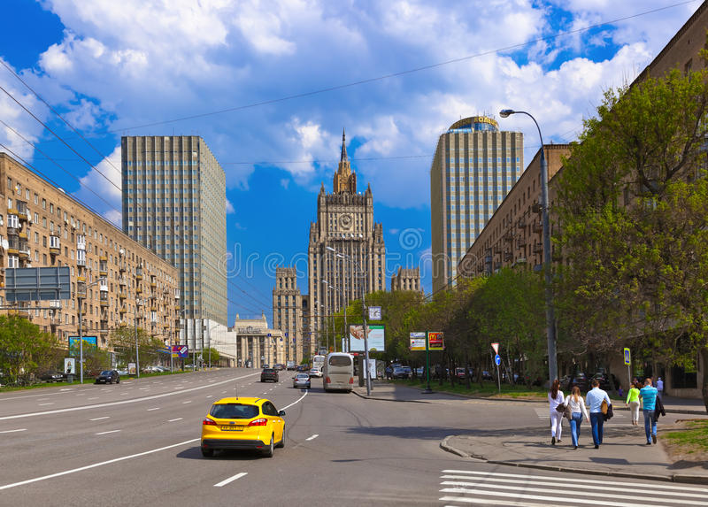 MOSCOW, RUSSIA - MAY 01: Stalin's famous skyscraper Ministry of stock photo