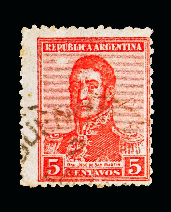 Jose Francisco de San Martin (1778-1850), serie, circa 1917. MOSCOW, RUSSIA - MAY 15, 2018: A stamp printed in Argentina shows Jose Francisco de San Martin (1778 royalty free stock photo