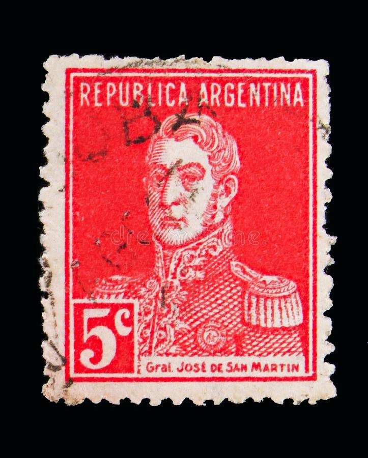 Jose Francisco de San Martin (1778-1850), serie, circa 1917. MOSCOW, RUSSIA - MAY 15, 2018: A stamp printed in Argentina shows Jose Francisco de San Martin (1778 stock image