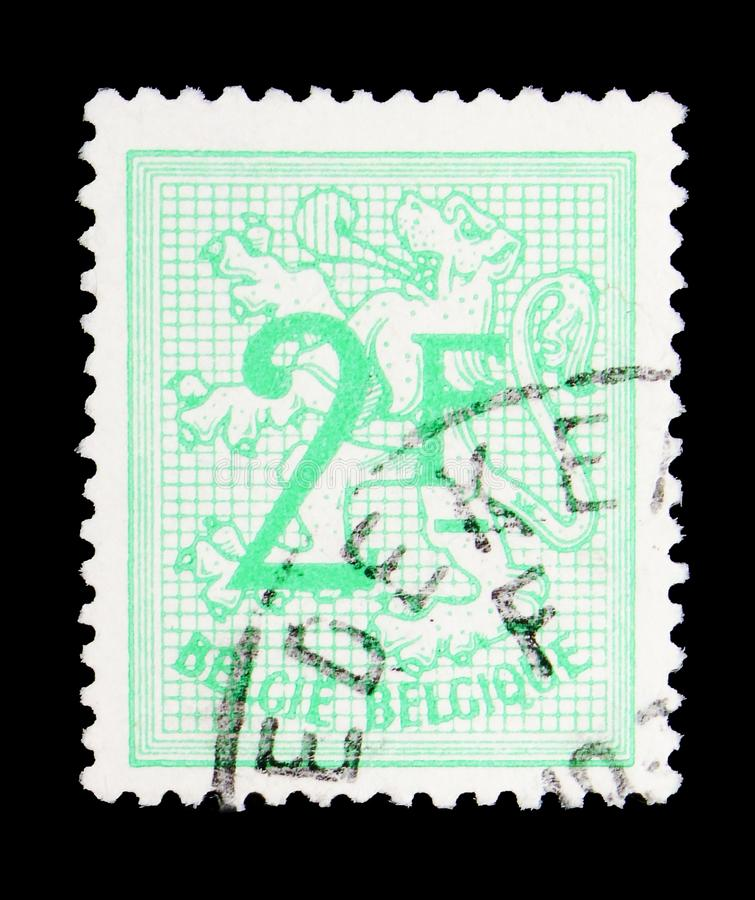 Heraldic lion, serie, circa 1951. MOSCOW, RUSSIA - MAY 15, 2018: A stamp printed in Belgium shows Heraldic lion, serie, circa 1951 royalty free stock image