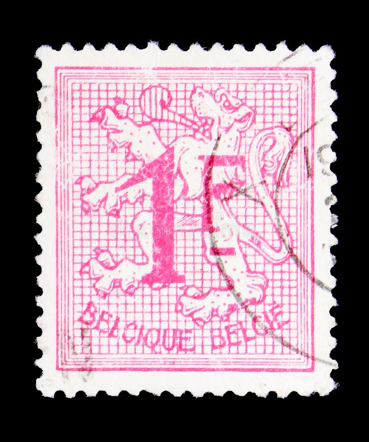 Heraldic lion, serie, circa 1951. MOSCOW, RUSSIA - MAY 15, 2018: A stamp printed in Belgium shows Heraldic lion, serie, circa 1951 royalty free stock photo