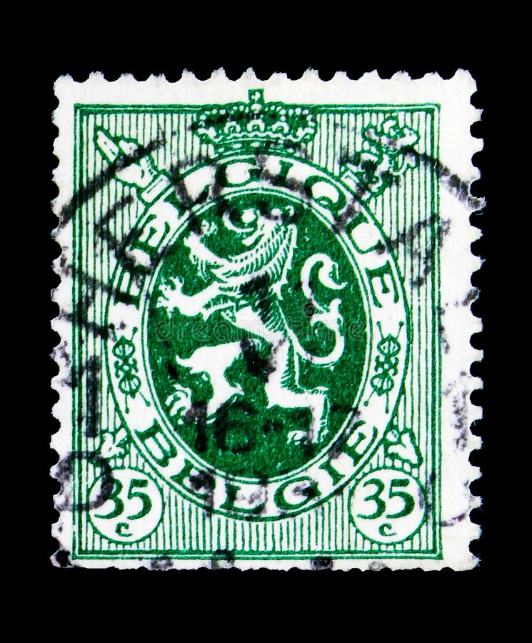 Heraldic lion, serie, circa 1929. MOSCOW, RUSSIA - MAY 15, 2018: A stamp printed in Belgium shows Heraldic lion, serie, circa 1929 royalty free stock photography