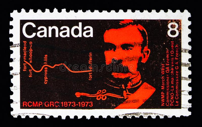 Commissioner French and route of the March West, Centenary of Royal Canadian Mounted Police serie, circa 1973. MOSCOW, RUSSIA - MAY 13, 2018: A stamp printed in stock photography