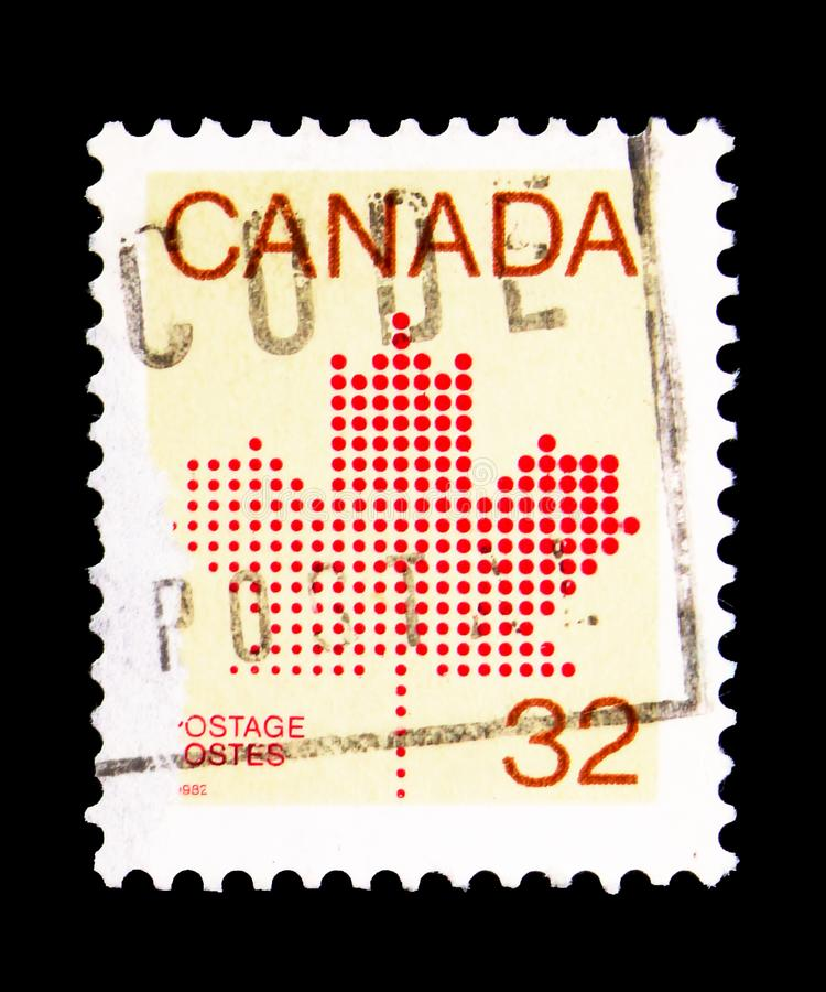 Maple Leaf, Definitives 1981-84 (Maple Leaf Emblem) serie, circa. MOSCOW, RUSSIA - MAY 15, 2018: A stamp printed in Canada shows Maple Leaf, Definitives 1981-84 stock photos