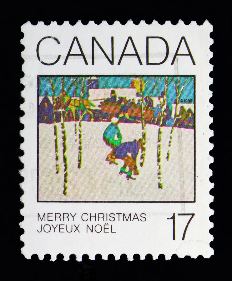 Sleigh Ride by J. S. Hallam, Christmas serie, circa 1980. MOSCOW, RUSSIA - MAY 13, 2018: A stamp printed in Canada shows Sleigh Ride by J. S. Hallam, Christmas royalty free stock photos
