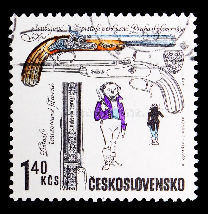 Duelling pistols, from Lebeda workshop, Prague, c. 1835, Historical firearms serie, circa 1969. MOSCOW, RUSSIA - MAY 16, 2018: A stamp printed in Czechoslovakia royalty free stock photos