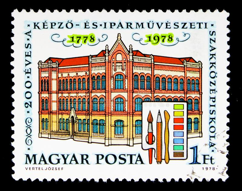 200 years of School of Arts and Crafts, Buildings serie, circa 1. MOSCOW, RUSSIA - MAY 16, 2018: A stamp printed in Hungary devoted to 200 years of School of stock photos