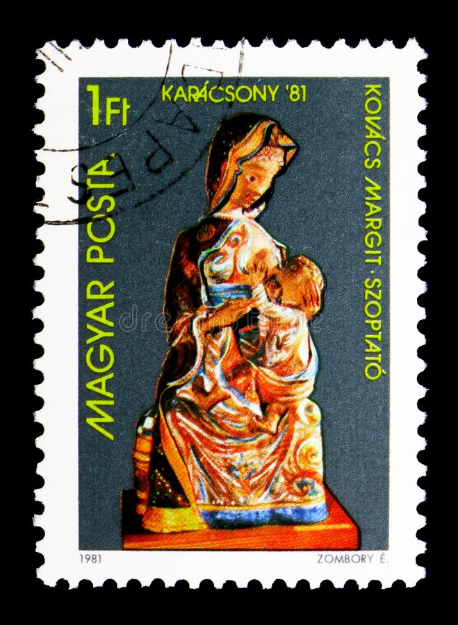 Christmas, serie, circa 1981. MOSCOW, RUSSIA - MAY 16, 2018: A stamp printed in Hungary shows Christmas, serie, circa 1981 royalty free stock image