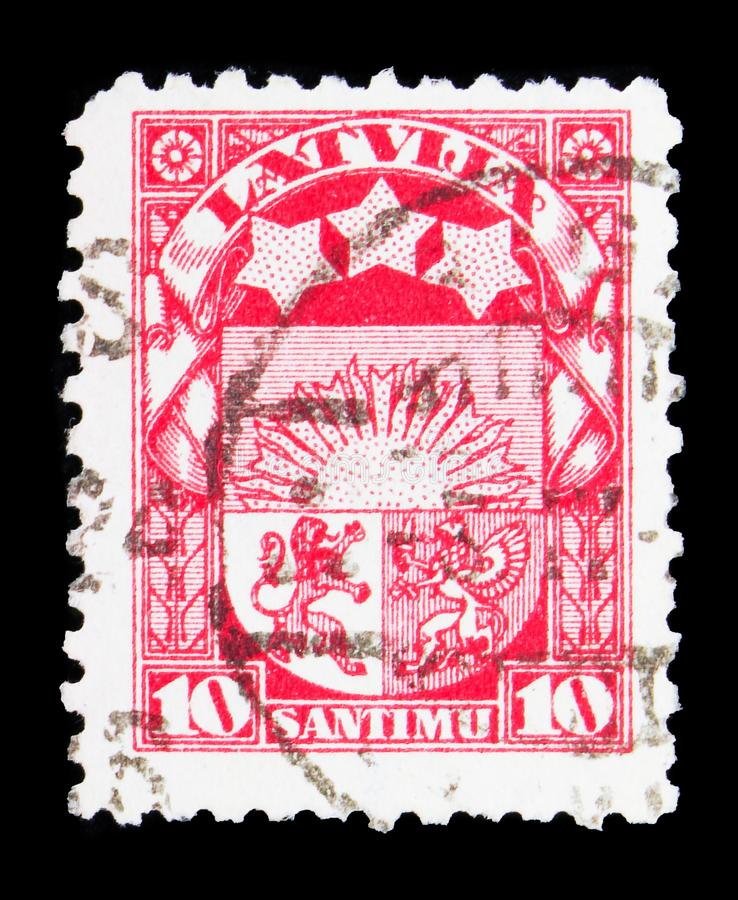 Coat of arms, Definitives serie, circa 1927. MOSCOW, RUSSIA - MAY 15, 2018: A stamp printed in Latvia shows Coat of arms, Definitives serie, circa 1927 royalty free stock photo