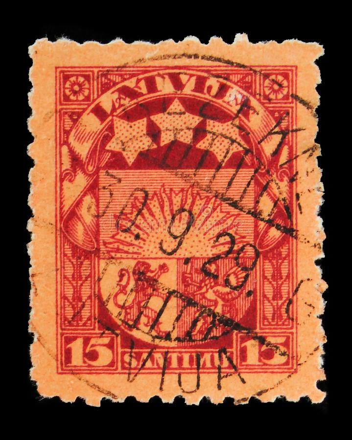 Coat of arms, Definitives serie, circa 1925. MOSCOW, RUSSIA - MAY 15, 2018: A stamp printed in Latvia shows Coat of arms, Definitives serie, circa 1925 royalty free stock images