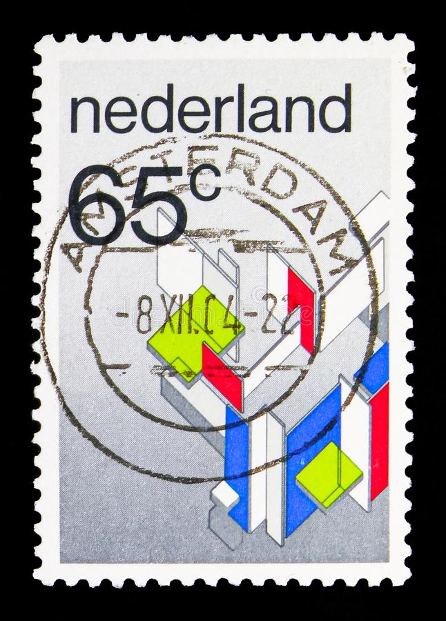 Maison private by Piet Mondriaan, The style serie, circa 1983. MOSCOW, RUSSIA - MAY 13, 2018: A stamp printed in Netherlands shows Maison private by Piet royalty free stock image