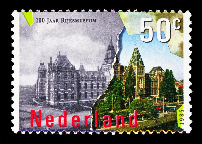 National Museum, Amsterdam serie, circa 1985. MOSCOW, RUSSIA - MAY 13, 2018: A stamp printed in Netherlands shows National Museum, Amsterdam serie, circa 1985 stock images