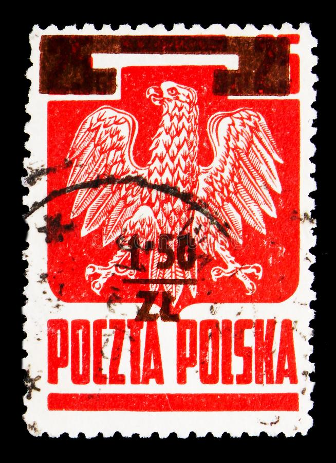 Overprint 1,5z On 25g, Polish Eagle serie, circa 1945. MOSCOW, RUSSIA - MAY 16, 2018: A stamp printed in Poland shows Overprint 1,5z On 25g, Polish Eagle serie stock photos