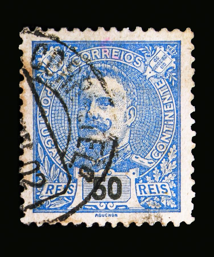 King Carlos I, serie, circa 1895. MOSCOW, RUSSIA - MAY 13, 2018: A stamp printed in Portugal shows King Carlos I, serie, circa 1895 stock image
