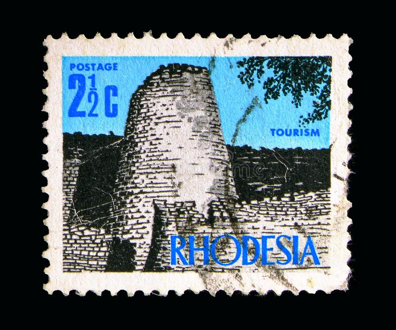 Zimbabwe ruins, New Currency Definitives serie, circa 1970. MOSCOW, RUSSIA - MAY 15, 2018: A stamp printed in Rhodesia shows Zimbabwe ruins, New Currency stock image