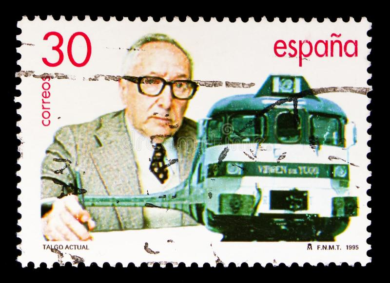 Modern Talgo Train, Railways serie, circa 1995. MOSCOW, RUSSIA - MAY 10, 2018: A stamp printed in Spain shows Modern Talgo Train, Railways serie, circa 1995 royalty free stock photography