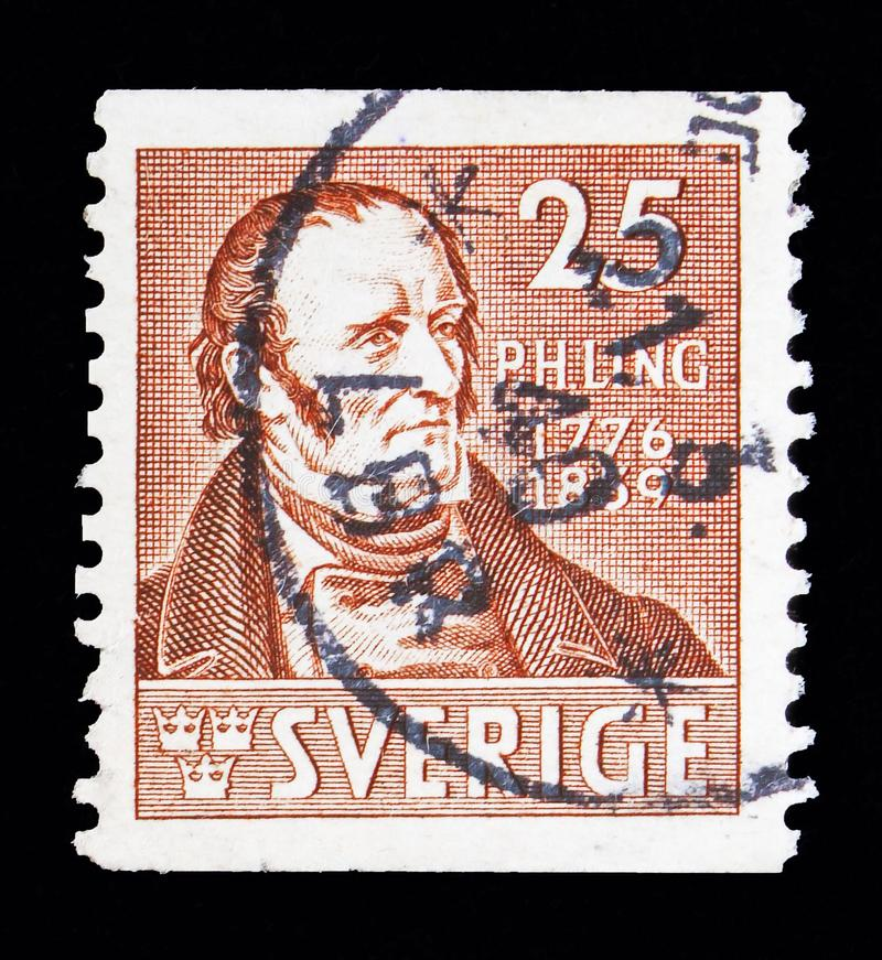 Per Hendrik Ling (1776-1839) gym pedagogue, serie, circa 1939. MOSCOW, RUSSIA - MAY 10, 2018: A stamp printed in Sweden shows Per Hendrik Ling ( vector illustration