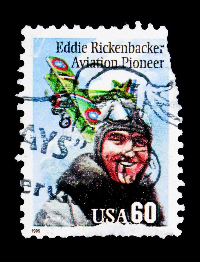 Eddie Rickenbacker, serie, circa 1995. MOSCOW, RUSSIA - MAY 15, 2018: A stamp printed in USA shows Eddie Rickenbacker, serie, circa 1995 royalty free stock photography