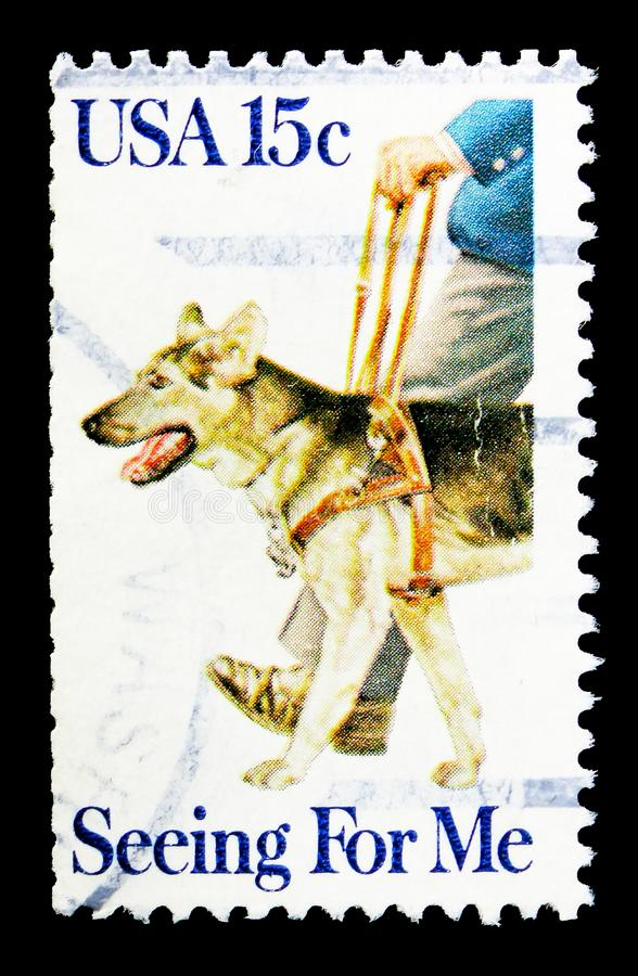 Seeing Eye Dogs: Seeing For Me, serie, circa 1979. MOSCOW, RUSSIA - MAY 15, 2018: A stamp printed in USA shows Seeing Eye Dogs: Seeing For Me, serie, circa 1979 stock image