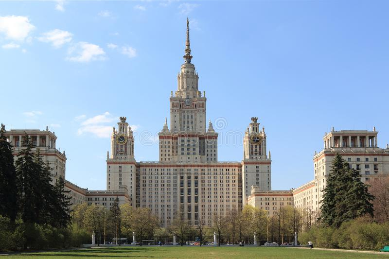 Moscow, Russia - May 01, 2019: Moscow State University named after Mikhail Vasilyevich Lomonosov. Moscow State University named after the outstanding scientist royalty free stock image