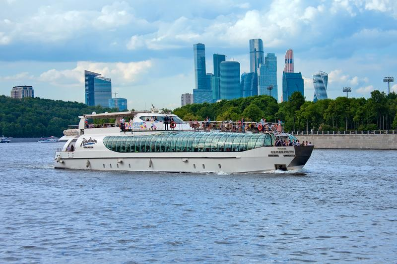 Tour yacht Celebrity goes up the Moscow river. stock images