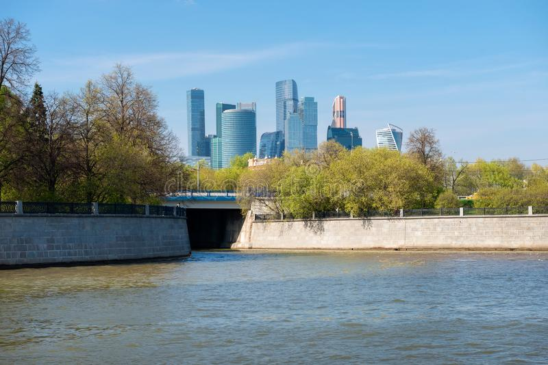 Moscow, Russia - May 6, 2019: View of the Moscow-City Financial and Office Center on a spring afternoon from the Moscow River near. Luzhniki stock photo
