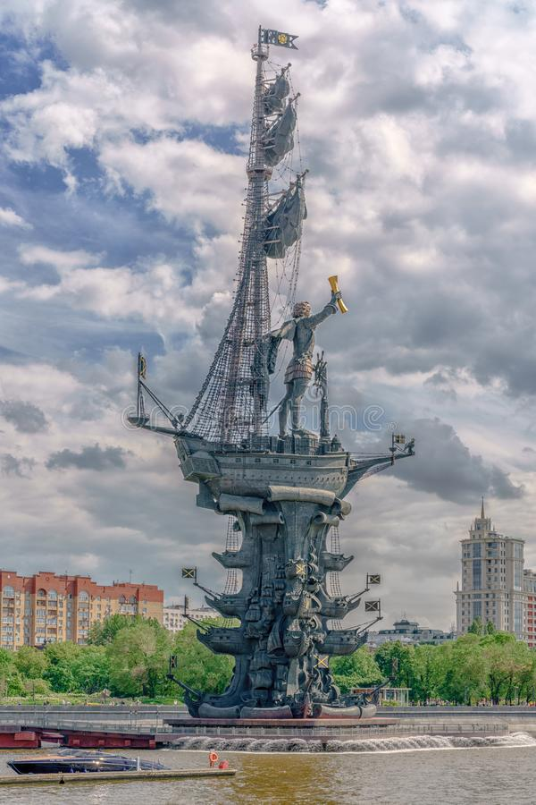 Moscow, Russia - May 26, 2019:  View of the monument to Russian emperor Peter the Great Peter First, architect Zurab Tseretely royalty free stock images