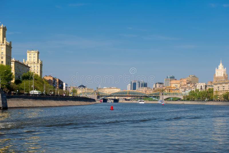 Moscow, View of the Savvinskaya Embankment and the Foreign Ministry building in the spring afternoon royalty free stock image