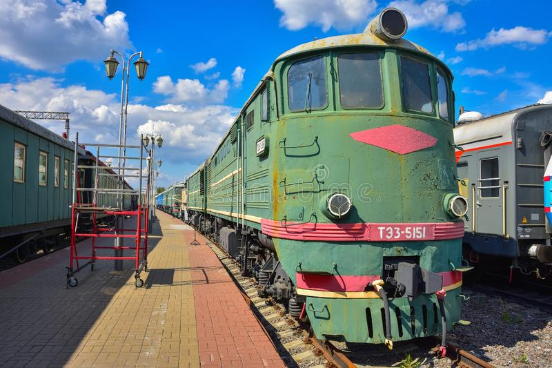 Vintage green train on the platform at the train museum at the Riga station in Moscow. Moscow / Russia - May 26, 2019: vintage green train on the platform at the stock photos