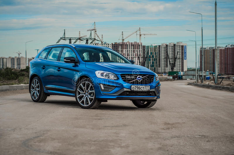 MOSCOW, RUSSIA - MAY 20, 2017 VOLVO XC60 POLESTAR, front-side view. Test of new Volvo XC60 Polestar. This car is AWD compact cross. Over SUV. T6 engine royalty free stock image