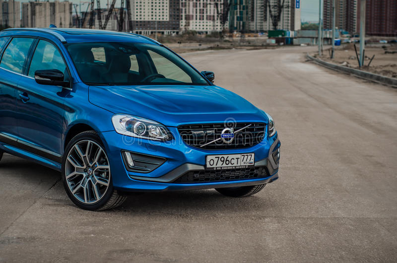 MOSCOW, RUSSIA - MAY 20, 2017 VOLVO XC60 POLESTAR, front-side view. Test of new Volvo XC60 Polestar. This car is AWD compact cross. Over SUV. T6 engine stock images