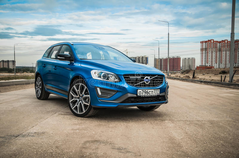 MOSCOW, RUSSIA - MAY 20, 2017 VOLVO XC60 POLESTAR, front-side view. Test of new Volvo XC60 Polestar. This car is AWD compact cross. Over SUV. T6 engine stock image