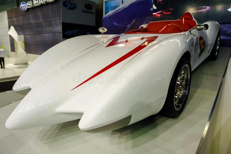 Moscow, Russia - May 25, 2019: White race car Mach 5 for the movie Speed Racer. Stands on the podium stock photos