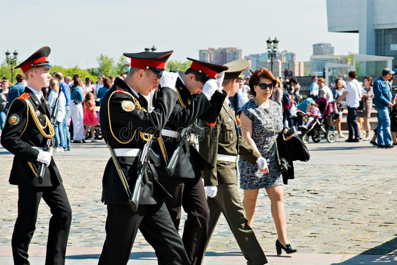 Moscow,Russia, May 9, 2018: young cadets in full dress in honor of the Victory day celebration.  royalty free stock photos