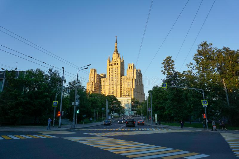 Moscow/Russia - 08.06.2018: Ministry of Foreign Affairs at noon. Blue sky from traffic lights royalty free stock photography