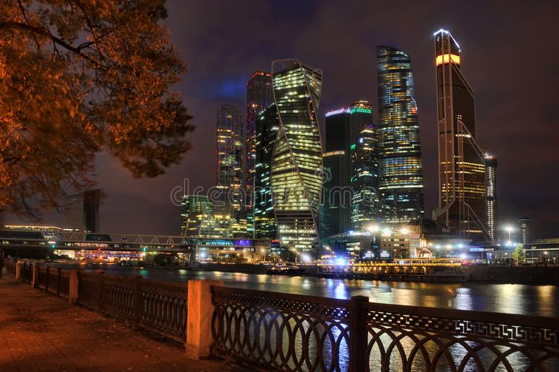 Moskva-City from Tarasa Shevchenko Embankment at Night. MOSCOW, RUSSIA - Night cityscape with modern skyscrapers of Moscow International Business Center `Moskva royalty free stock images