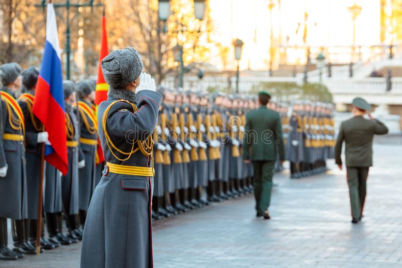 The commander of the Ground Forces of the United Arab Emirates, Major General Saleh Al-Amy and the Commander-in-Chief of the Land. MOSCOW, RUSSIA - NOVEMBER 08 stock photos