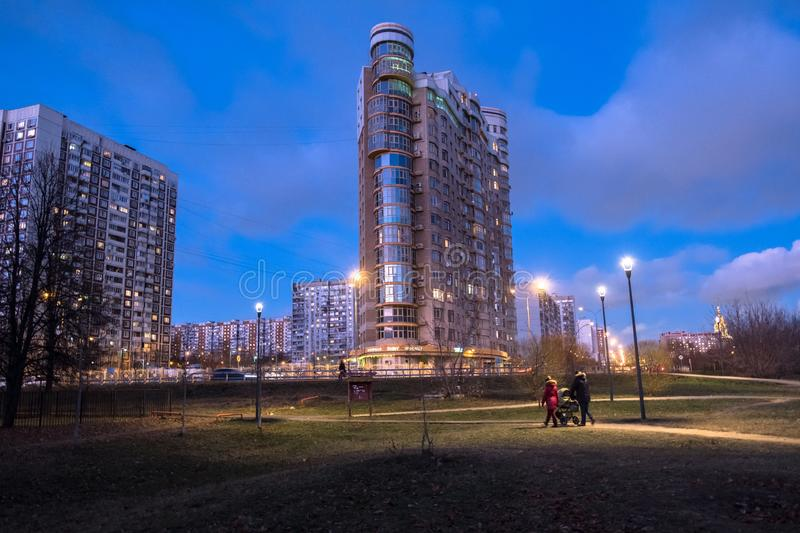 MOSCOW, RUSSIA,NOVEMBER,21.2018: Evening autumn view of the environmentally friendly comfortable residential district in Moscow. B stock photography