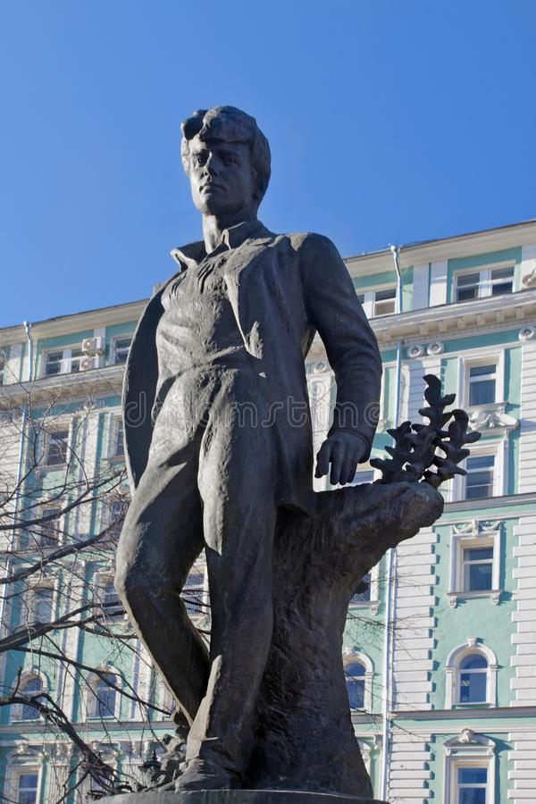 Monument to Russian poet Sergei Yesenin in Moscow stock photo