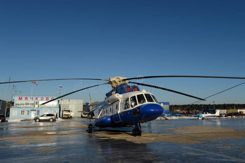 Police helicopter MI-8AMT at the airfield Myachkovo stock image
