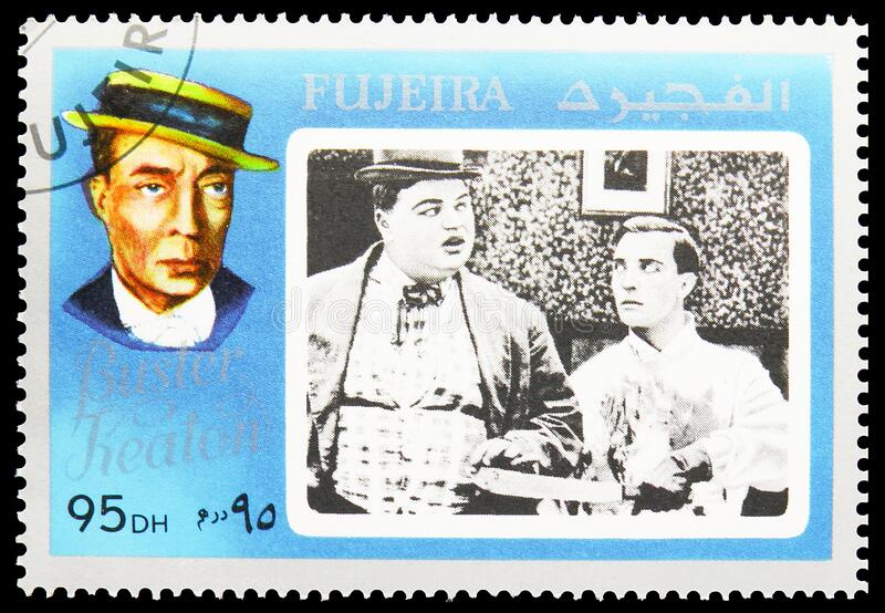 Postage stamp printed in Fujairah United Arab Emirates shows Buster Keaton, Movie Stars serie, circa 1972. MOSCOW, RUSSIA - NOVEMBER 16, 2019: Postage stamp stock photos