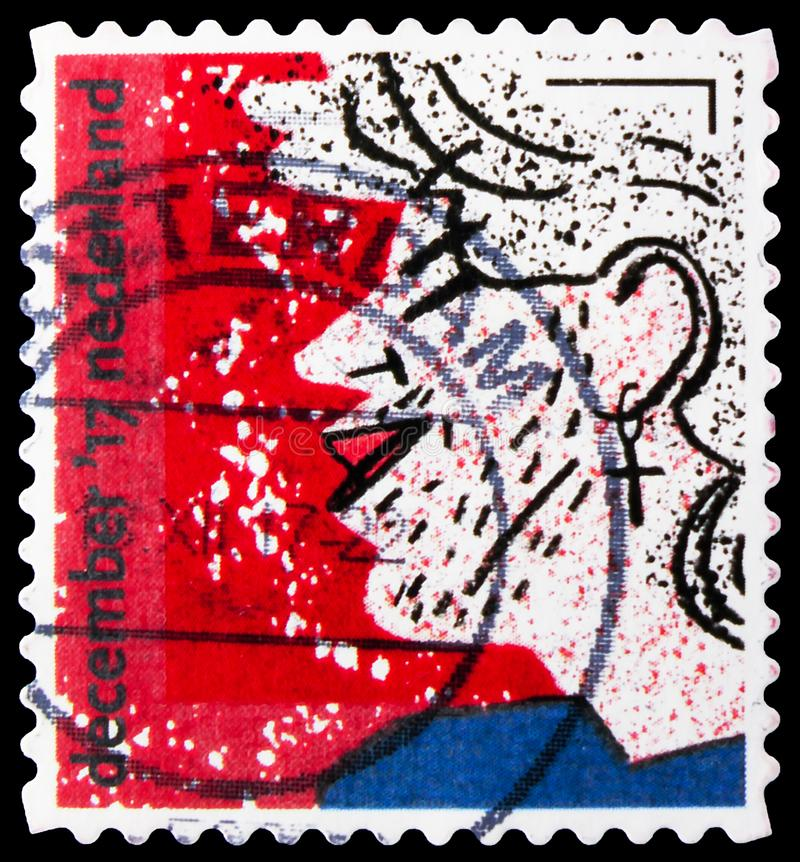 Postage stamp printed in Netherlands shows Profile portrait George Michael, December Stamps serie, circa 2017 stock images