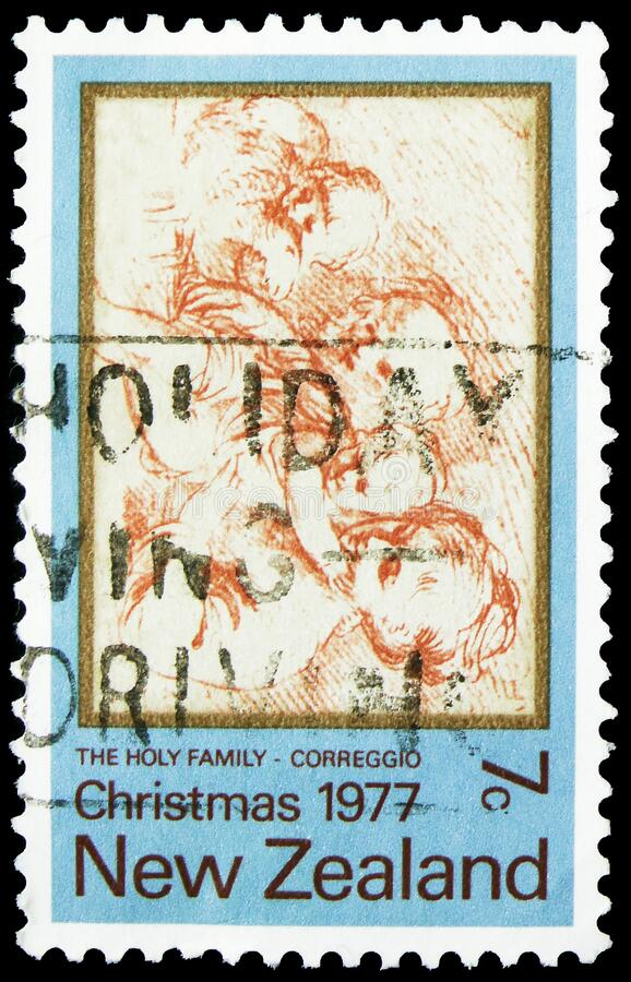 Postage stamp printed in New Zealand shows Holy Family, Christmas serie, circa 1977 royalty free stock photos