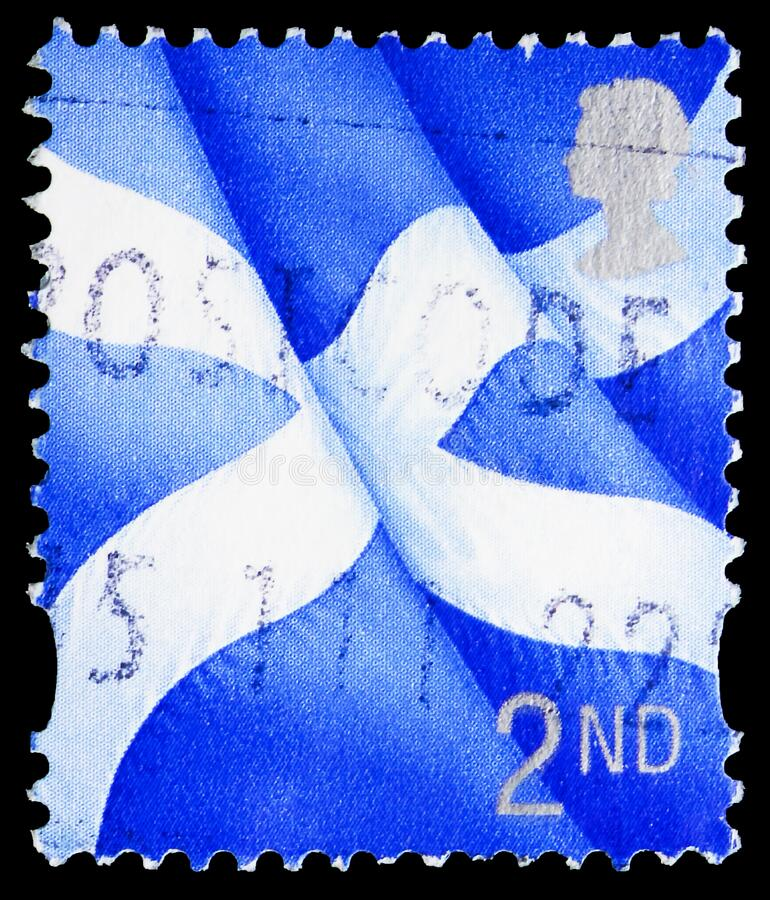 Postage stamp printed in United Kingdom shows Scotland - Scottish Flag - Saltire, Regional - Scotland serie, circa 1999. MOSCOW, RUSSIA - NOVEMBER 4, 2019 royalty free stock image