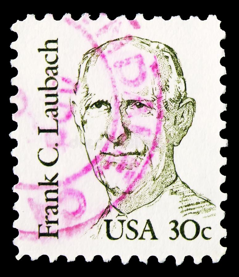 Postage stamp printed in United States shows Doctor Frank C. Laubach, Great Americans serie, circa 1984. MOSCOW, RUSSIA - NOVEMBER 4, 2019: Postage stamp printed stock photos