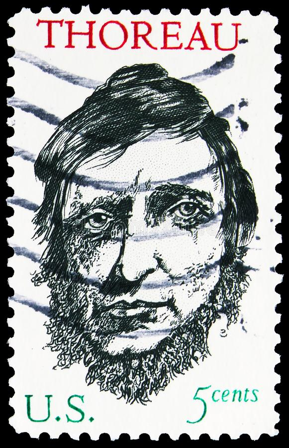 Postage stamp printed in United States shows Henry David Thoreau (1817-1862), serie, circa 1967. MOSCOW, RUSSIA - NOVEMBER 4, 2019: Postage stamp printed in royalty free stock photos