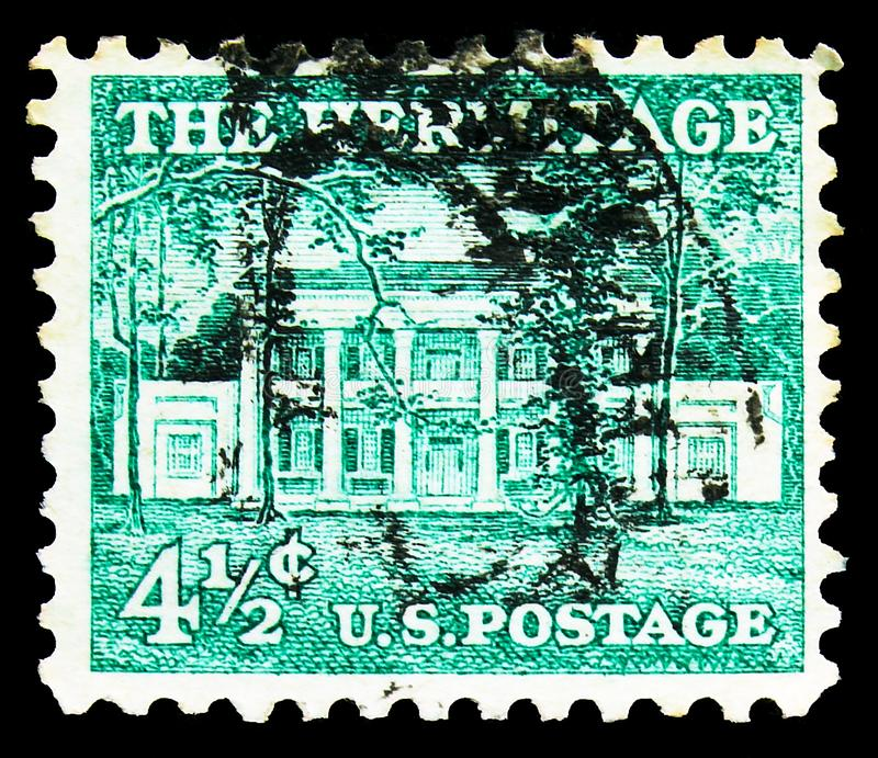 Postage stamp printed in United States shows The Hermitage (1835), Nashville, Tennessee, Liberty Issue - Precancels serie, circa. MOSCOW, RUSSIA - NOVEMBER 4 stock photography