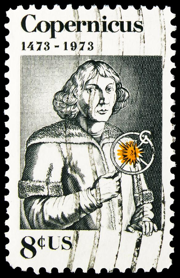 Postage stamp printed in United States shows Nicolas Copernicus (1473-1543) Polish Astronomer, Copernicus Issue serie, circa 1973. MOSCOW, RUSSIA - NOVEMBER 4 stock images
