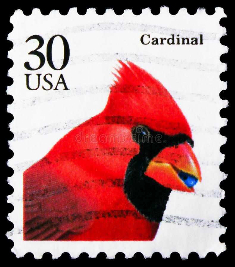 Postage stamp printed in United States shows Northern Cardinal (Cardinalis cardinalis), Flora and Fauna Issue serie, circa 1991. MOSCOW, RUSSIA - NOVEMBER 4 royalty free stock photos