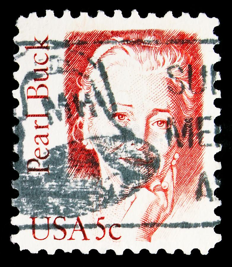 Postage stamp printed in United States shows Pearl Buck, Great Americans serie, circa 1983. MOSCOW, RUSSIA - NOVEMBER 4, 2019: Postage stamp printed in United royalty free stock image